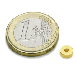 Ring magnet Ø6/2mm, height2mm, neodymium, N45, gold-plated