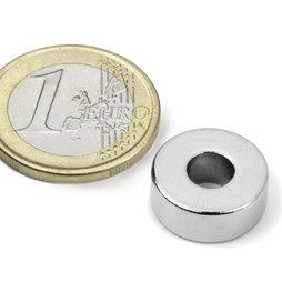 Ring magnet Ø15/6mm, height6mm, neodymium, N42, nickel-plated