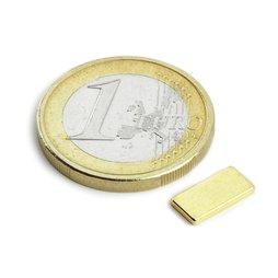 Block magnet 10x5x1,2mm, neodymium, N50, gold-plated