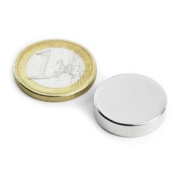 Disc magnet Ø 20 mm, height 5 mm, neodymium, N42, nickel-plated