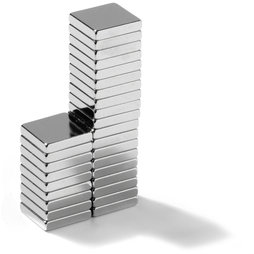 Block magnet 10x10x2mm, neodymium, N45, nickel-plated