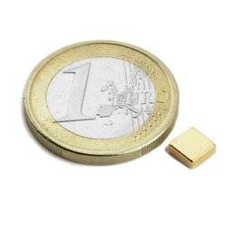 Block magnet 5x5x2mm, neodymium, N45, gold-plated