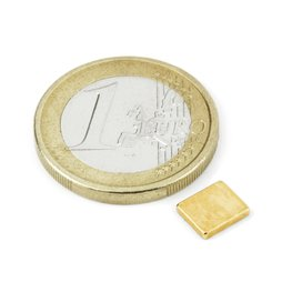 Parall�l�pip�de magn�tique 7x6x1,2mm, n�odyme, N50, dor�