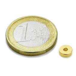 Anneau magn�tique Ø6/2mm, hauteur2mm, n�odyme, N45, dor�