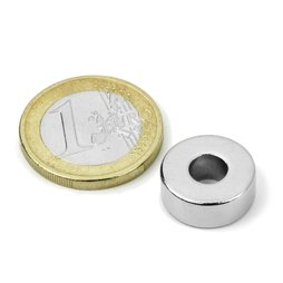 Ring magnet Ø 15/6 mm, height 6 mm, neodymium, N42, nickel-plated
