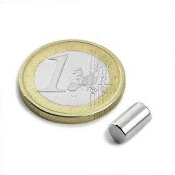 Rod magnet Ø5mm, height8,47mm, neodymium, N45, nickel-plated