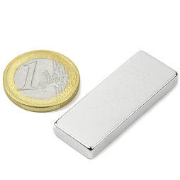 Block magnet 40x15x5mm, neodymium, N40, nickel-plated