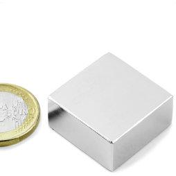 Block magnet 25,4x25,4x12,7mm, neodymium, N40, nickel-plated