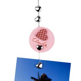 Photo rope Sweetheart 1,5 m with loop and steel weight, incl. 8 heart magnets