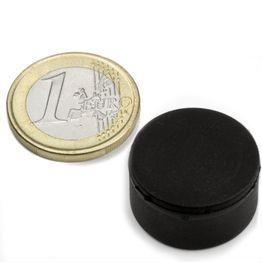 S-20-10-R Disco magnético de goma Ø 22 mm, alto 11,4 mm, sujeta aprox. 7,1 kg, impermeable, neodimio, N42