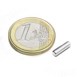 S-03-10-N Cilindro magnético Ø 3 mm, alto 10 mm, neodimio, N45, niquelado