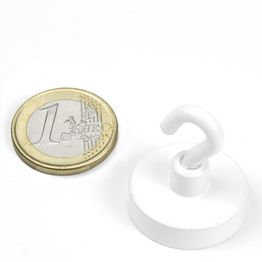 FTNW-25 Hook magnet white Ø 25,3 mm, powder-coated, thread M4