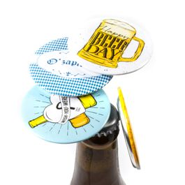 Magnetic bottle opener attaches to a fridge or the like, set of 2