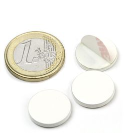 PAS-16-W Metal disc self-adhesive white Ø 16 mm, as a counterpart to magnets, not a magnet!