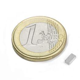 Q-05-2.5-1.5-HN Blokmagneet 5 x 2,5 x 1,5 mm, houdt ca. 350 gr, neodymium, 44H, vernikkeld