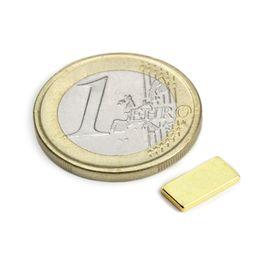 Q-10-05-01-G Parallelepipedo magnetico 10 x 5 x 1 mm, tiene ca. 650 g, neodimio, N50, dorato