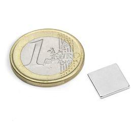 Q-10-10-1.2-N52N Quadermagnet 10 x 10 x 1,2 mm, hält ca. 1 kg, Neodym, N52, vernickelt