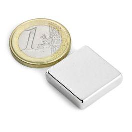 Q-20-20-05-N Block magnet 20 x 20 x 5 mm, neodymium, N42, nickel-plated