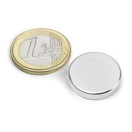 S-20-04-N Disco magnético Ø 20 mm, alto 4 mm, sujeta aprox. 5,3 kg, neodimio, N42, niquelado