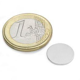 S-13-01-N Disque magnétique Ø 13 mm, hauteur 1 mm, tient env. 910 g, néodyme, N45, nickelé