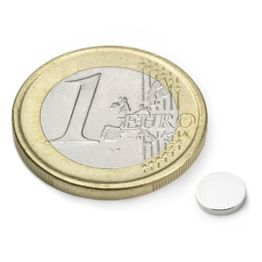 S-06-01-N Disc magnet Ø 6 mm, height 1 mm, holds approx. 400 g, neodymium, N45, nickel-plated