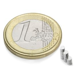 S-02-01-N Disque magnétique Ø 2 mm, hauteur 1 mm, néodyme, N48, nickelé
