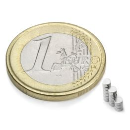 S-02-01-N Disc magnet Ø 2 mm, height 1 mm, holds approx. 110 g, neodymium, N48, nickel-plated