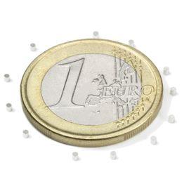 S-01-01-N Schijfmagneet Ø 1 mm, hoogte 1 mm, houdt ca. 31 gr, neodymium, N45, vernikkeld