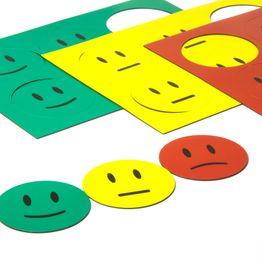 Symboles magnétiques smiley pour tableaux blancs & tableaux de planning, 6 smileys par feuille A5, kit en 3 pièces : vert, jaune, rouge