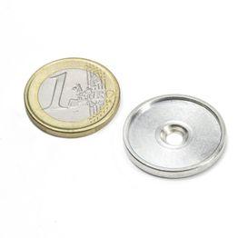 MSD-21 Disco metallico con bordo e foro svasato M3, diametro interno 21 mm, come controparte per i magneti, non è un magnete!