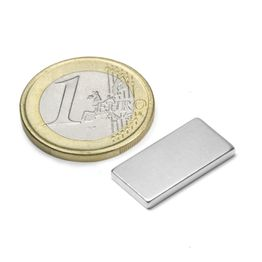 Q-20-10-02-N Bloque magnético 20 x 10 x 2 mm, sujeta aprox. 2,1 kg, neodimio, N45, niquelado