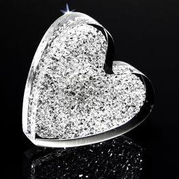 Imán decorativo «Corazón brillante» de plexiglás, con cristales Swarovski