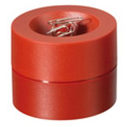 Paper clip dispenser magnetic with strong magnet in the centre, plastic, red