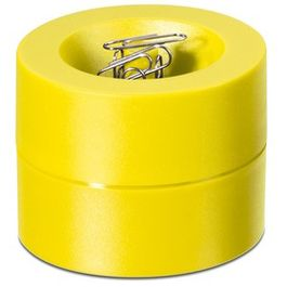 Paper clip dispenser magnetic with strong magnet in the centre, plastic, yellow