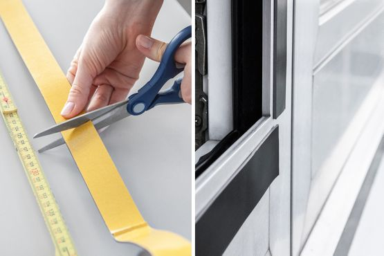 Self-adhesive magnetic tape is measured and attached to window frames