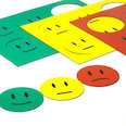 for whiteboards & planning boards, 6 smileys per A5 sheet, Set of 3: green, yellow, red