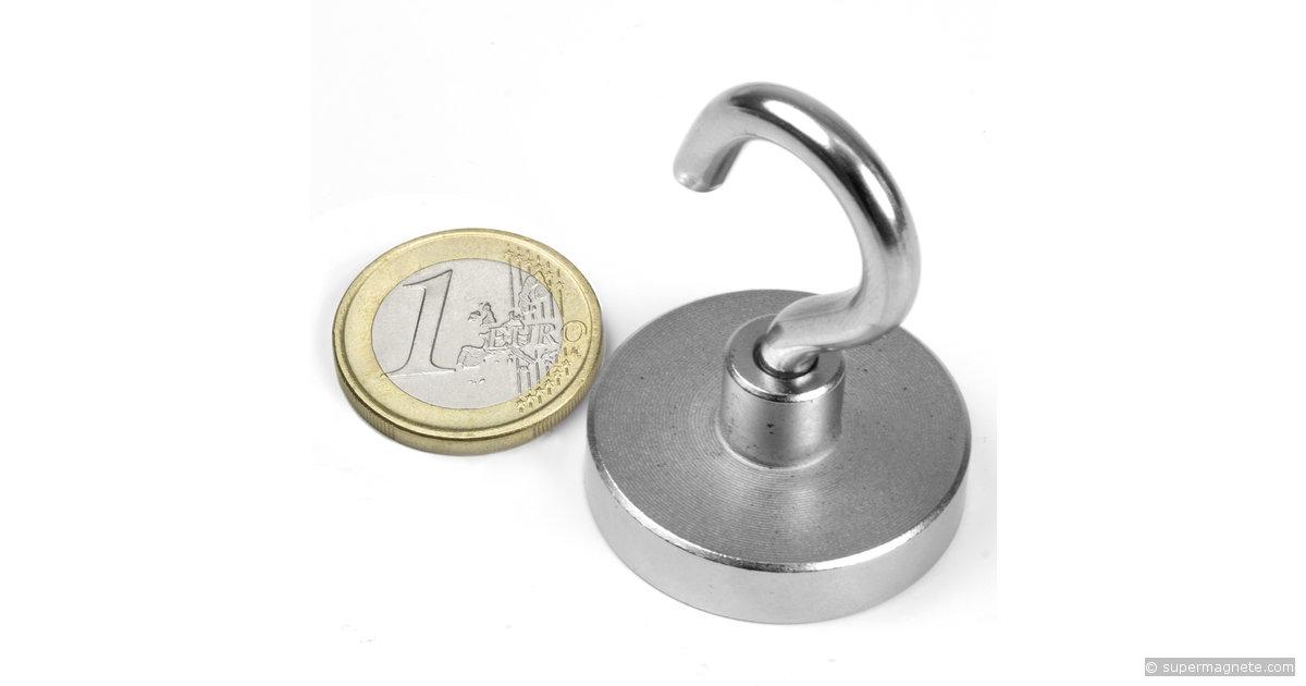 Magneti con base in acciaio Ø 10mm Ø 125mm gambo-foro-filettato ferrite