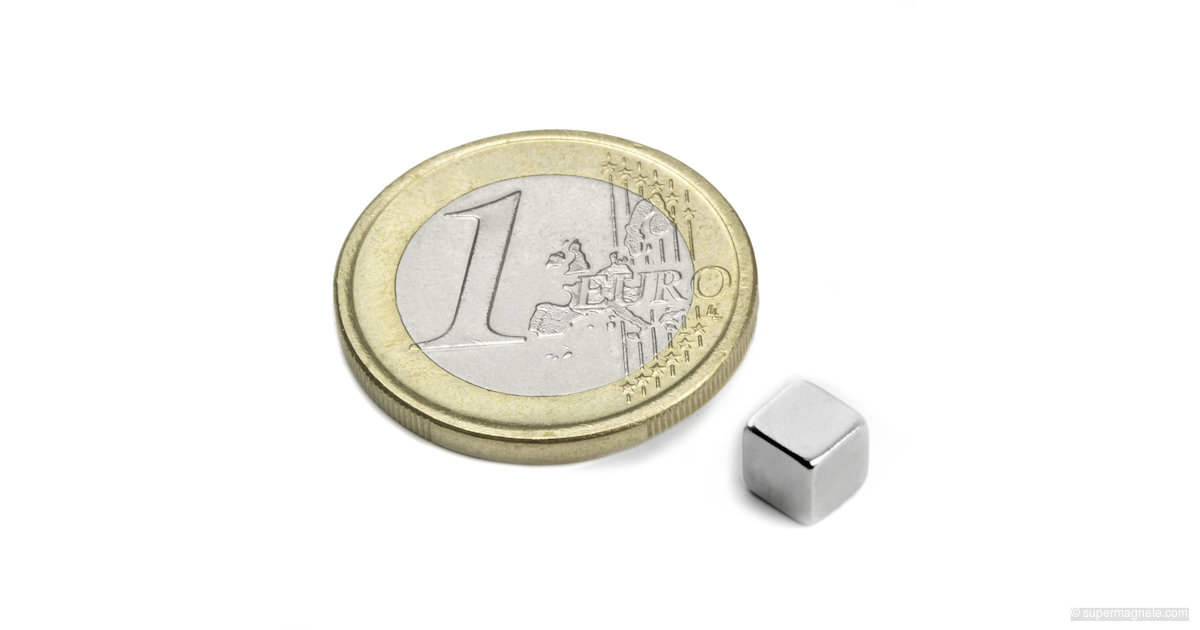 Cube magnet 5 mm, Nickel-plated