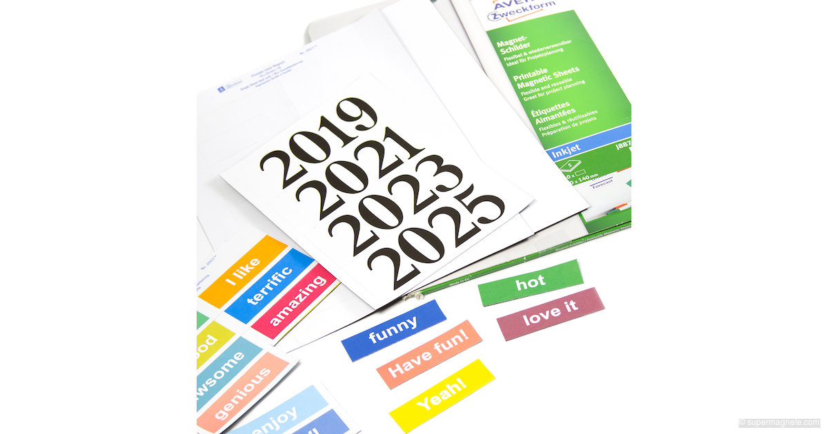 Persnickety image with printable magnetic labels