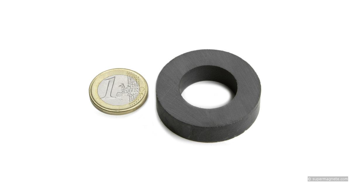ringmagnete magnetringe magnete mit loch 40 x 22 x 9 mm fe r 40 22 09 supermagnete. Black Bedroom Furniture Sets. Home Design Ideas