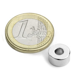 R-10-04-05-N, Ring magnet Ø 10/4 mm, height 5 mm, neodymium, N42, nickel-plated