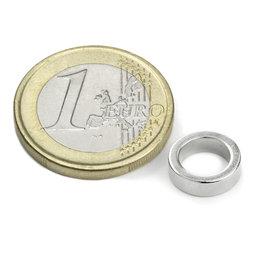 R-10-07-03-DN, Ring magnet Ø 10/7 mm, height 3 mm, neodymium, N45, nickel-plated, diametrically magnetised