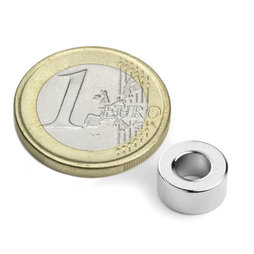R-10-05-05-DN, Ring magnet Ø 10/5 mm, height 5 mm, neodymium, N45, nickel-plated, diametrically magnetised