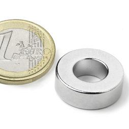 R-19-09-06-N, Ring magnet Ø 19,1/9,5 mm, height 6,4 mm, neodymium, N42, nickel-plated