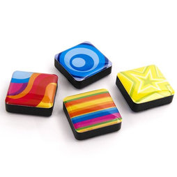SALE-053/colors, Icons psychedelic, fridge magnets square, set of 4, in various designs