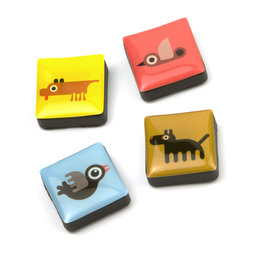 SALE-053/animals, Icons Tiere, Dekomagnete quadratisch, 4er-Set, in diversen Designs