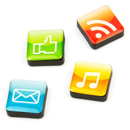 SALE-053/apps, Icons apps, fridge magnets square, set of 4, in various designs