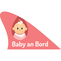 M-58/babyr, Fun fin, magnetic fun item for your car, 'Baby an Bord' pink