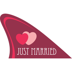 M-58/married, Fun fin, magnetic fun item for your car, 'Just married'