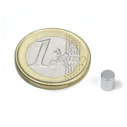 S-04-05-Z, Cilindro magnético Ø 4 mm, alto 5 mm, neodimio, N45, galvanizado